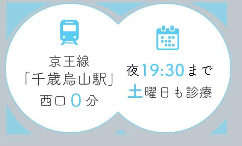 京王線 「千歳烏山駅」 西口0分 夜19:30まで 土曜日も診療